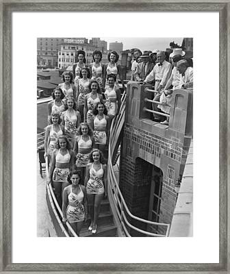 Miss America Contestants, In Two-piece Framed Print by Everett