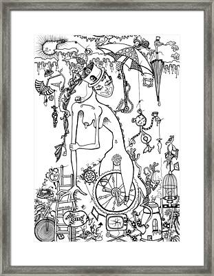 Miss Millies Greatest Show On Earth Illustration Framed Print by Kelly Jade King
