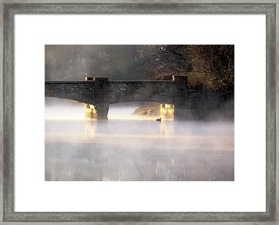 Misty Bridge Sunrise Framed Print by Vicki Jauron