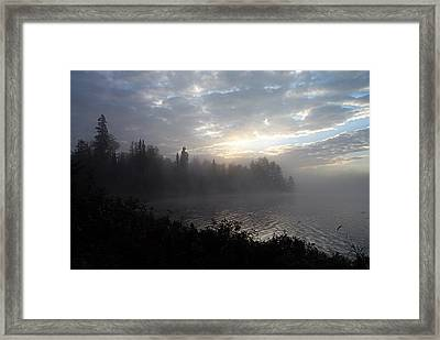 Misty Dawn On Boot Lake Framed Print by Larry Ricker