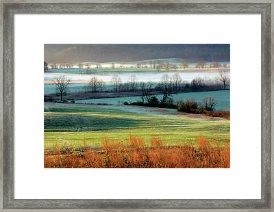 Misty Morning At Cades Cove Framed Print by Dave Mills