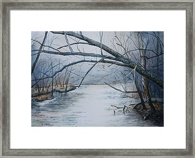 Misty Morning On The Red River Framed Print by Patsy Sharpe