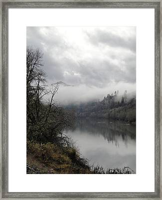 Misty River Drive Along The Umpqua Framed Print by Alison Foster