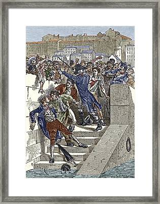 Mob Attacking Jacquard In Lyon, France Framed Print by Sheila Terry
