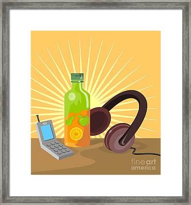Mobile Phone Soda Drink Headphone Retro Framed Print by Aloysius Patrimonio