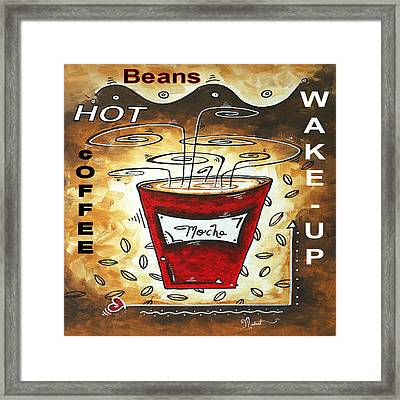 Mocha Beans Original Painting Madart Framed Print by Megan Duncanson
