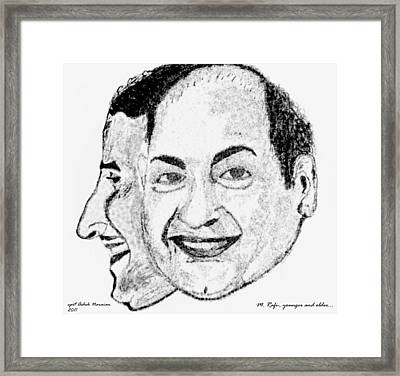 Mohammed Rafi Sketch Younger And Older Framed Print by Ashok Naraian