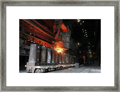 Molten Metal Being Poured Into Vats Framed Print by Ria Novosti
