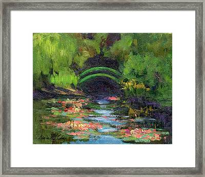 Momet's Water Lily Garden Toward Evening Framed Print by Diane McClary