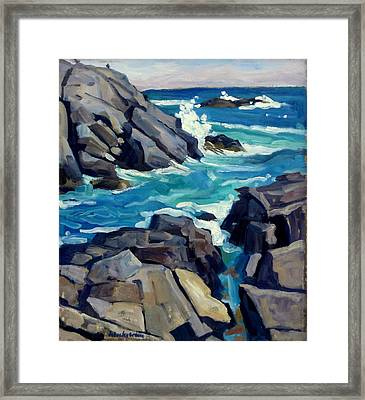 Monhegan Surf Maine Seascape Framed Print by Thor Wickstrom