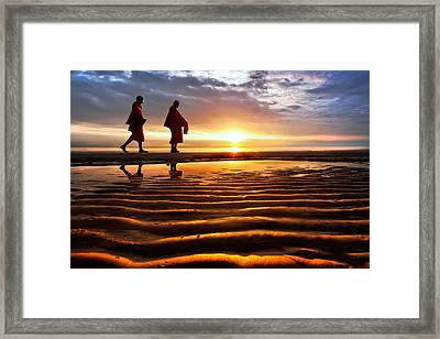 Monk Receive Food Routine Huahin Beach Thailand Framed Print by Arthit Somsakul