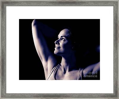 Monochrome Beautiful Woman  Framed Print by Johan Larson