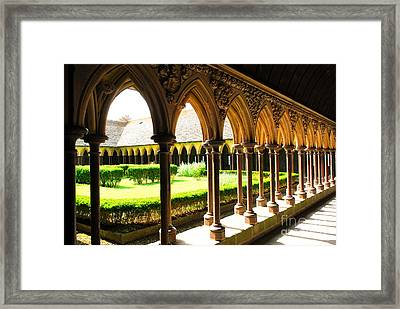 Mont Saint Michel Cloister Framed Print by Elena Elisseeva