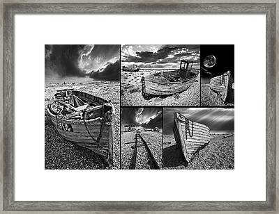 Montage Of Wrecked Boats Framed Print by Meirion Matthias