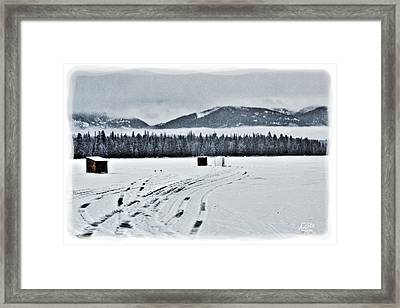 Montana Ice Fishing Framed Print by Janie Johnson