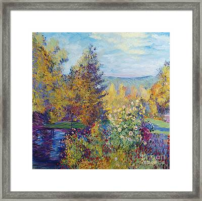 Montgeron  Garden Sur Les Traces De Monet  Framed Print by David Lloyd Glover