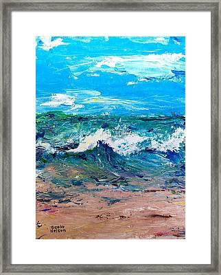 Moody Beach In A Mood Framed Print by Scott Nelson