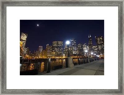 Moon And City Lights Framed Print by Sven Brogren