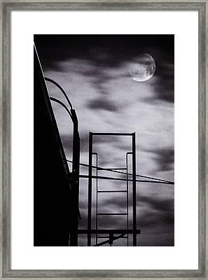 Moon Over Brooklyn Rooftop Framed Print by Gary Heller