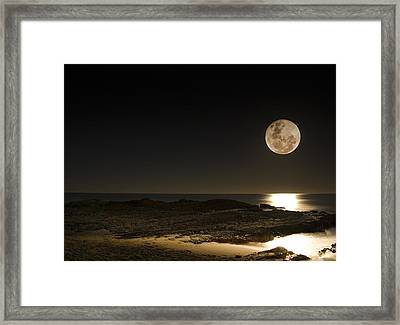 Moon Over Curumbin Framed Print by Rebecca Akporiaye