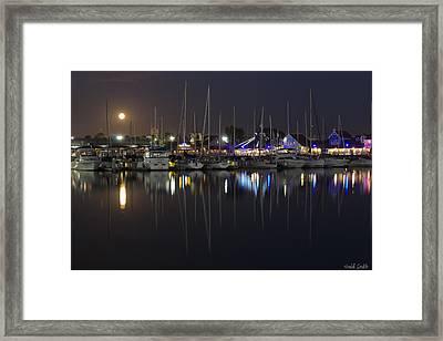 Moon Over The Marina Framed Print by Heidi Smith