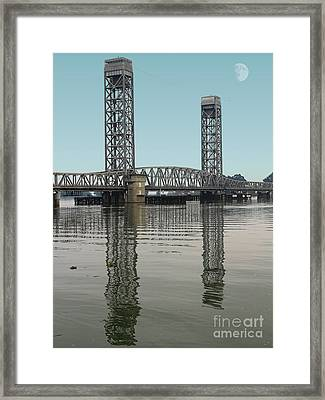 Moon Over The Rio Vista Drawbridge In Rio Vista California Framed Print by Wingsdomain Art and Photography