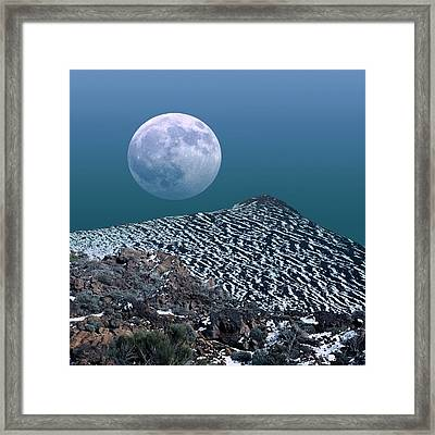 Moon-rise Over A Volcano Framed Print by Detlev Van Ravenswaay
