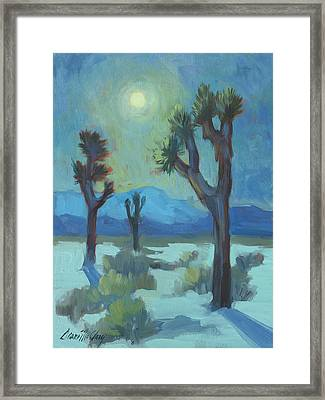 Moon Shadows At Joshua Framed Print by Diane McClary
