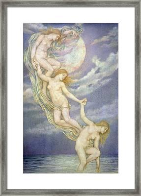 Moonbeams Dipping Into The Sea Framed Print by Evelyn De Morgan