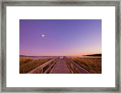 Moonlit Boardwalk At Beach Framed Print by Nancy Rose