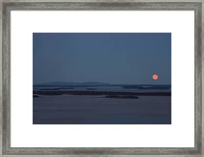 Moonrise Over Penobscot Bay And Acadia National Park From Camden Hills Framed Print by John Burk