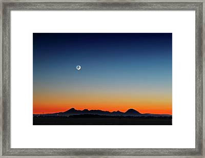 Moonset Over The Sutter Buttes Framed Print by Donni Mac