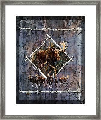 Moose Lodge Framed Print by JQ Licensing