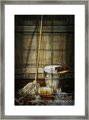 Mop With Bucket And Scrub Brushes Framed Print by Sandra Cunningham