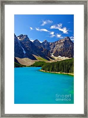 Moraine Lake Framed Print by James Steinberg and Photo Researchers