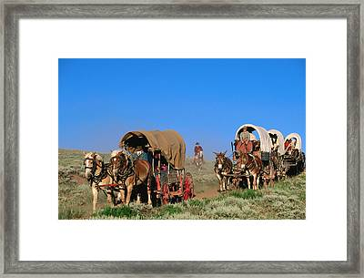 Mormons On Horse Carriages, Mormon Pioneer Wagon Train To Utah, Near South Pass, Wyoming, United States Of America, North America Framed Print by Holger Leue