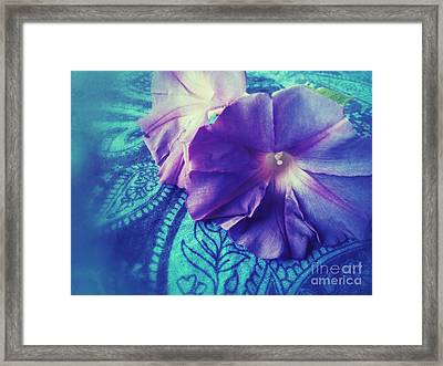 Morning Glories On Paisley Framed Print by Ruby Hummersmith