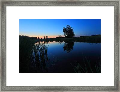 Morning Pond In Blue Framed Print by Jiayin Ma