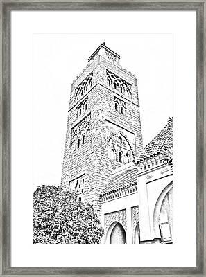 Morocco Pavilion Minaret Epcot Walt Disney World Prints Black And White Line Art Framed Print by Shawn O'Brien