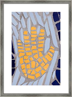 Mosaic Yellow Hand Framed Print by Carol Leigh