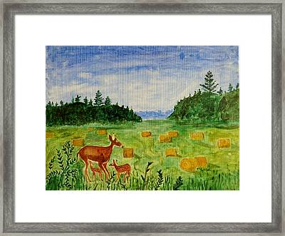 Mother Deer And Kids Framed Print by Sonali Gangane