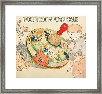 Mother Goose Spinning Top Framed Print by Glenda Zuckerman