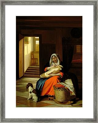 Mother Nursing Her Child Framed Print by  Pieter de Hooch