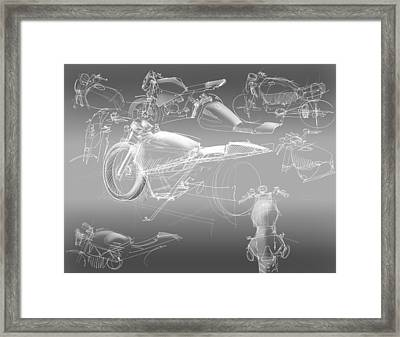 Motorcycle Concept Sketches Framed Print by Jeremy Lacy