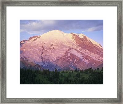 Mount Rainier At Sunrise Mount Rainier Framed Print by Tim Fitzharris