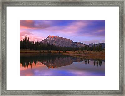 Mount Rundle And The Cascade Ponds In Framed Print by Carson Ganci