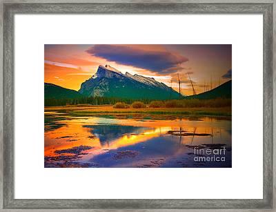 Mount Rundle Sundown Framed Print by Tara Turner