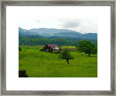 Mountain Barn Framed Print by Utopia Concepts