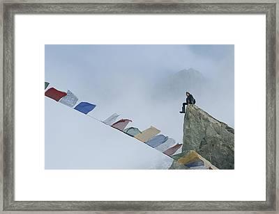 Mountain Climber Alex Lowe Sits Framed Print by Gordon Wiltsie