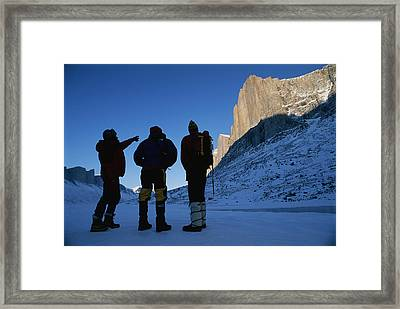 Mountain Climbers On Frozen Stewart Framed Print by Gordon Wiltsie